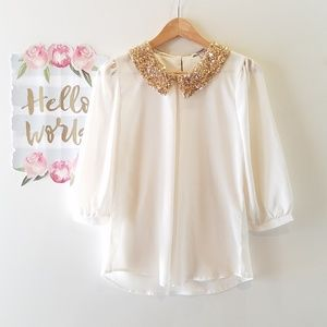 Papaya dress blouse with Gold Sequin Embelishments